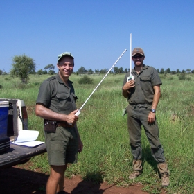 Rich and Deron preparing to do some light readings in our herbivore exclosures