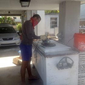 Alain sectioning corals with a tile saw