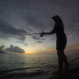 Post-doc, Jake Allgeier, fishing for crepuscular species in the lagoon