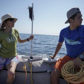Jenn and Abel scout sites for BRUVs (photo Sam Shimizu-Jones)