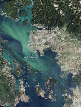 Turquoise water in the Strait of Georgia depicting a coccolithophore bloom.  [photo] NASA Earth Observatory